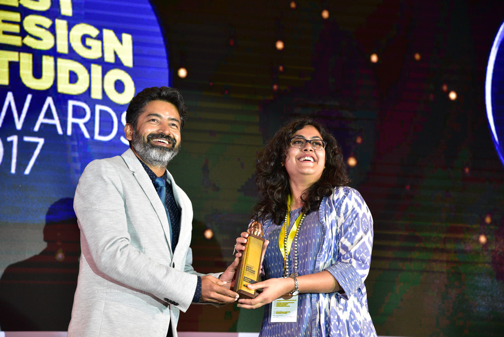 Cracker & Rush receiving 'India's Best Design Studio 2017' Award from Saurabh Singh